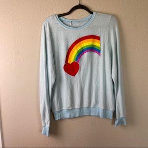 WILDFOX Blue Rainbow Heart Sweatshirt Small